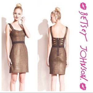 Betsey Johnson metallic gold dress w/ back cutout